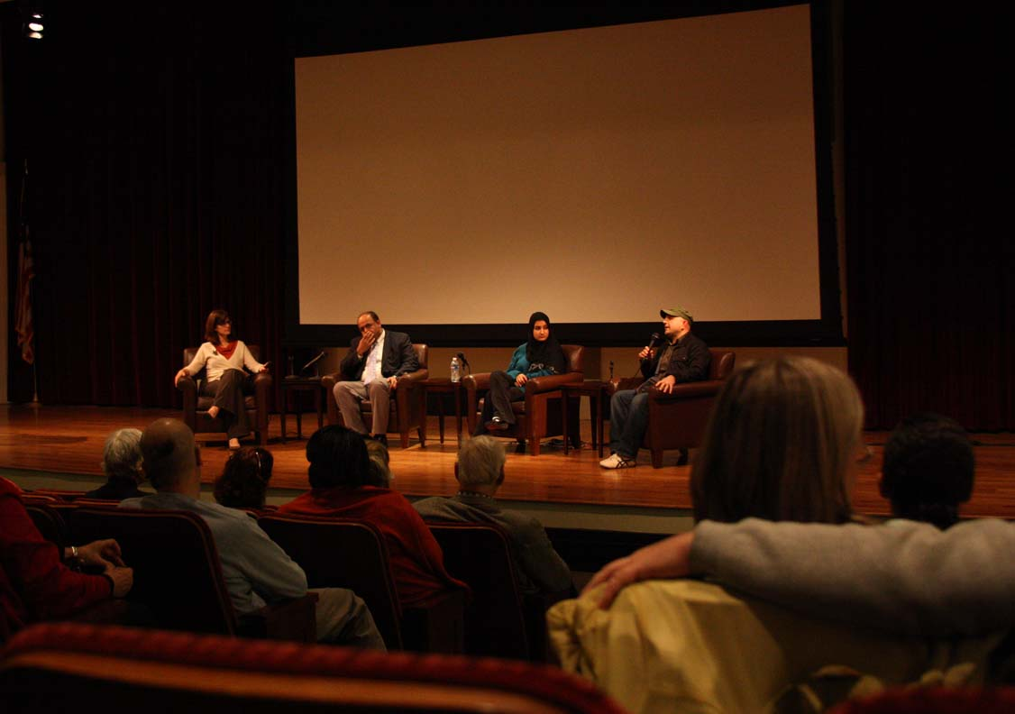 Community Cinema organizer and moderator Allison Inman, left, with Dr. Amir Arain, Lena Khan and Pouria Montazeri.