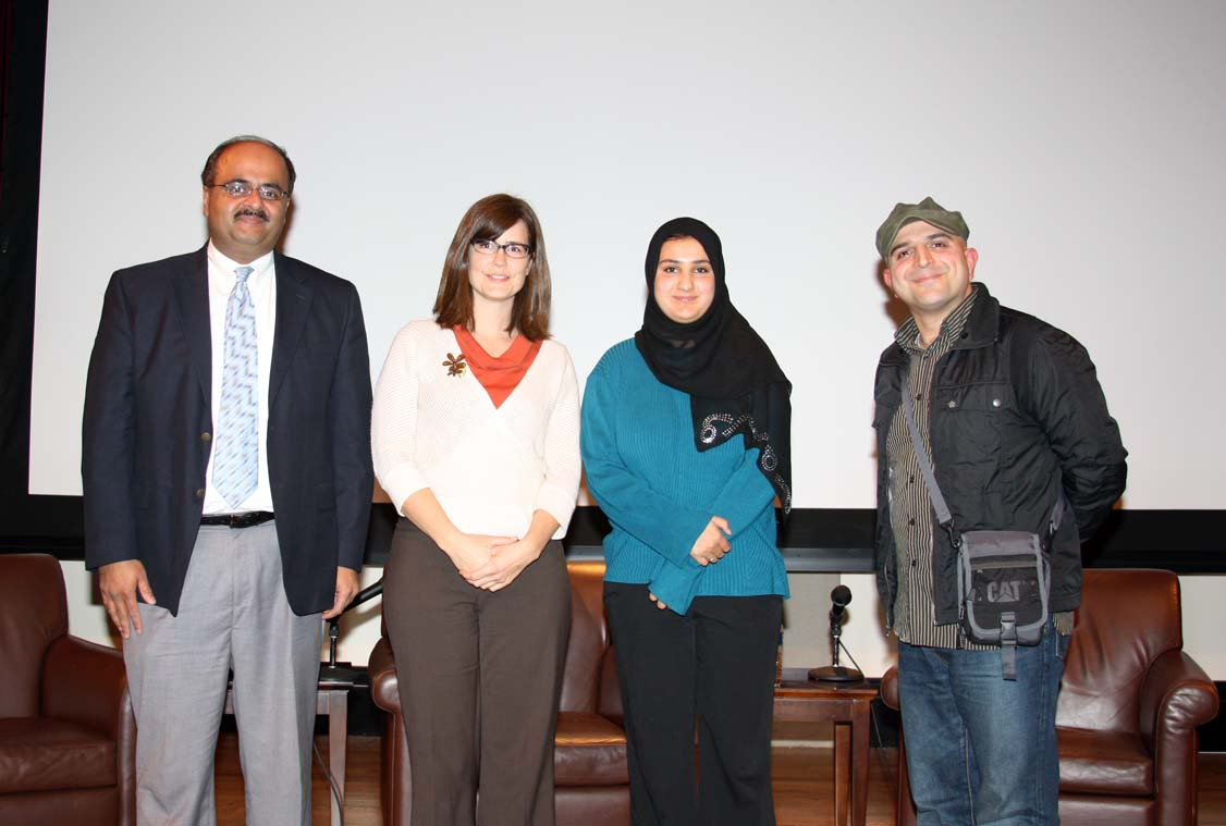 Ar. Amir Arain, left, with Allison Inman, Lena Khan and Pouria Montazeri. Photo courtesy of Frank Keesee.
