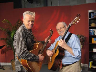 Tommy Emmanuel, left, and John Knowles in NPT's Studio B.