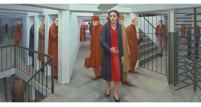 George Tooker (1920–2011). The Subway, 1950. Egg tempera on composition board, 18 1/8 x 36 1/8 in. Whitney Museum of American Art, New York; purchase, with funds from the Juliana Force Purchase Award 50.23. Courtesy of the Estate of George Tooker and DC Moore Gallery, N.Y. Photography by Sheldan C. Collins