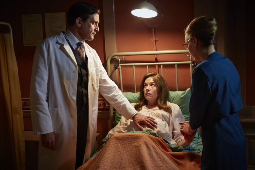 Dr. Turner (Stephen McGann), Collette Wimbish (Olivia Llewellyn) and Shelagh (Laura Main).