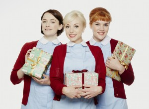 Nurses Barbara Gilbert (Charlotte Ritchie), Trixie Franklin (Helen George), and Patsy Mount (Emerald Fennell)