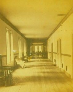 A hallway in the Tennessee Insane Asylum in Nashville, 1885. Tennessee State Museum